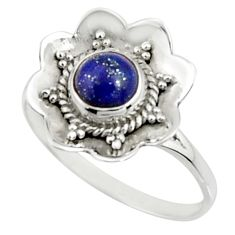 1.45cts natural blue lapis lazuli 925 silver solitaire ring size 8.5 r22210