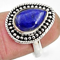 4.53cts natural blue lapis lazuli 925 silver solitaire ring size 6.5 r24886