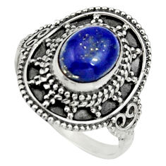 3.19cts natural blue lapis lazuli 925 silver solitaire ring size 7.5 r26767