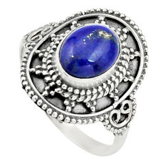 3.28cts natural blue lapis lazuli 925 silver solitaire ring size 8.5 r26768