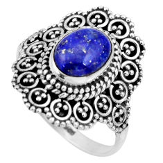 3.28cts natural blue lapis lazuli 925 silver solitaire ring size 8.5 r26929
