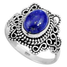 3.01cts natural blue lapis lazuli 925 silver solitaire ring size 7.5 r26984