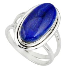 6.62cts natural blue lapis lazuli 925 silver solitaire ring size 7.5 r27141