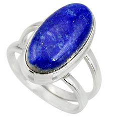 6.83cts natural blue lapis lazuli 925 silver solitaire ring size 6.5 r27146