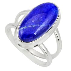 6.58cts natural blue lapis lazuli 925 silver solitaire ring size 7.5 r27147