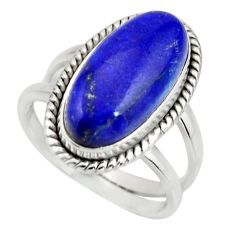 6.63cts natural blue lapis lazuli 925 silver solitaire ring size 7.5 r27149