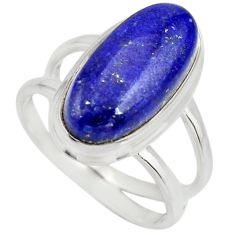 6.63cts natural blue lapis lazuli 925 silver solitaire ring size 8.5 r27150