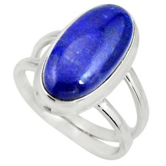 6.48cts natural blue lapis lazuli 925 silver solitaire ring size 7.5 r27154
