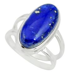 6.48cts natural blue lapis lazuli 925 silver solitaire ring size 6.5 r27157