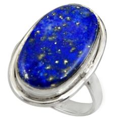 13.77cts natural blue lapis lazuli 925 silver solitaire ring size 8.5 r28241