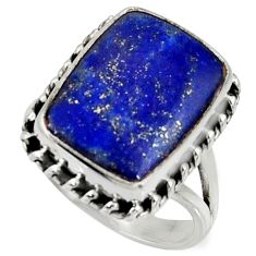 10.33cts natural blue lapis lazuli 925 silver solitaire ring size 7.5 r28242