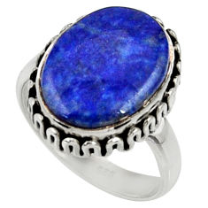 10.81cts natural blue lapis lazuli 925 silver solitaire ring size 7.5 r28248