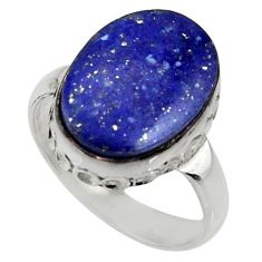 8.91cts natural blue lapis lazuli 925 silver solitaire ring size 6.5 r28249