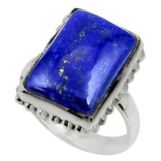 12.29cts natural blue lapis lazuli 925 silver solitaire ring size 7.5 r28265