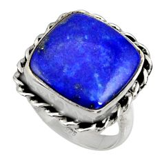 12.83cts natural blue lapis lazuli 925 silver solitaire ring size 7.5 r28269