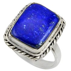 9.72cts natural blue lapis lazuli 925 silver solitaire ring size 8.5 r28276