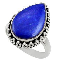 13.26cts natural blue lapis lazuli 925 silver solitaire ring size 7.5 r28279