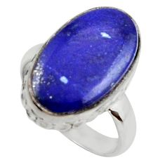 7.82cts natural blue lapis lazuli 925 silver solitaire ring size 6.5 r28741