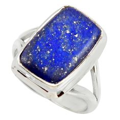 7.51cts natural blue lapis lazuli 925 silver solitaire ring size 7.5 r28748