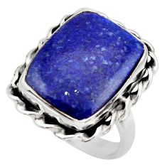 13.24cts natural blue lapis lazuli 925 silver solitaire ring size 7.5 r28755