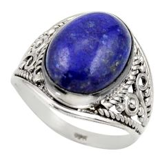6.04cts natural blue lapis lazuli 925 silver solitaire ring size 6.5 r35329