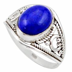 4.02cts natural blue lapis lazuli 925 silver solitaire ring size 6.5 r35452