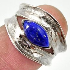 2.23cts natural blue lapis lazuli 925 silver solitaire ring size 5.5 r37096