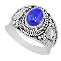 2.17cts natural blue lapis lazuli 925 silver solitaire ring size 7.5 r57977