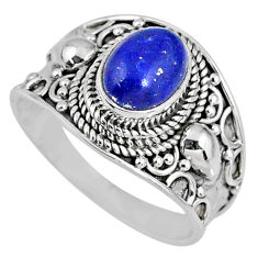 3.02cts natural blue lapis lazuli 925 silver solitaire ring size 8.5 r58255