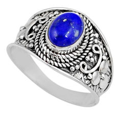 2.07cts natural blue lapis lazuli 925 silver solitaire ring size 8.5 r58608