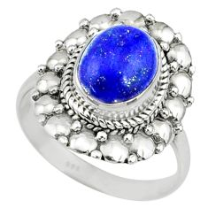 4.31cts natural blue lapis lazuli 925 silver solitaire ring size 8.5 r73386