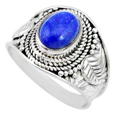 2.92cts natural blue lapis lazuli 925 silver solitaire ring size 7.5 r74685