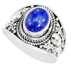 3.19cts natural blue lapis lazuli 925 silver solitaire ring size 7.5 r74689