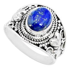 3.02cts natural blue lapis lazuli 925 silver solitaire ring size 7.5 r74690