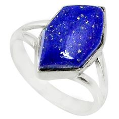 5.22cts natural blue lapis lazuli 925 silver solitaire ring size 5.5 r80154