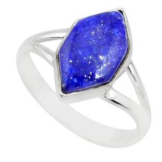 5.87cts natural blue lapis lazuli 925 silver solitaire ring size 9.5 r80229
