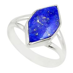 5.22cts natural blue lapis lazuli 925 silver solitaire ring size 6.5 r80234