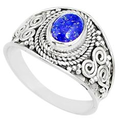2.13cts natural blue lapis lazuli 925 silver solitaire ring size 8.5 r81438