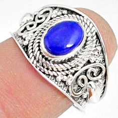 2.13cts natural blue lapis lazuli 925 silver solitaire ring size 7.5 r81480