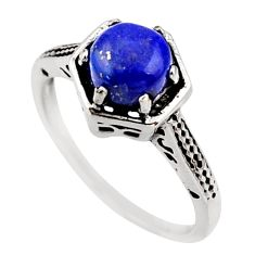 1.24cts natural blue lapis lazuli 925 silver solitaire ring size 5 r35961