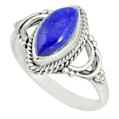 2.25cts natural blue lapis lazuli 925 silver solitaire ring size 5 r78887