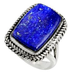 12.31cts natural blue lapis lazuli 925 silver solitaire ring size 6 r28253