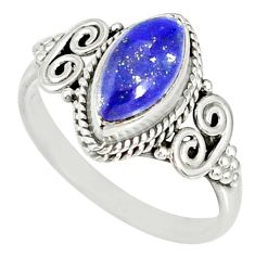 2.57cts natural blue lapis lazuli 925 silver solitaire ring size 6 r78968
