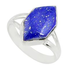 5.57cts natural blue lapis lazuli 925 silver solitaire ring size 6 r80162