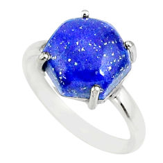 4.91cts natural blue lapis lazuli 925 silver solitaire ring size 6 r81911