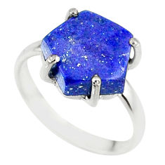 4.47cts natural blue lapis lazuli 925 silver solitaire ring size 6 r81913