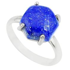 4.40cts natural blue lapis lazuli 925 silver solitaire ring size 6 r81920