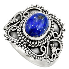 3.36cts natural blue lapis lazuli 925 silver solitaire ring size 7 r26946