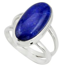 6.83cts natural blue lapis lazuli 925 silver solitaire ring size 7 r27142
