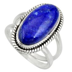 6.63cts natural blue lapis lazuli 925 silver solitaire ring size 7 r27143